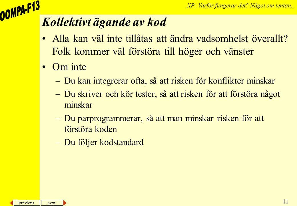 previous next 11 XP: Varför fungerar det. Något om tentan..