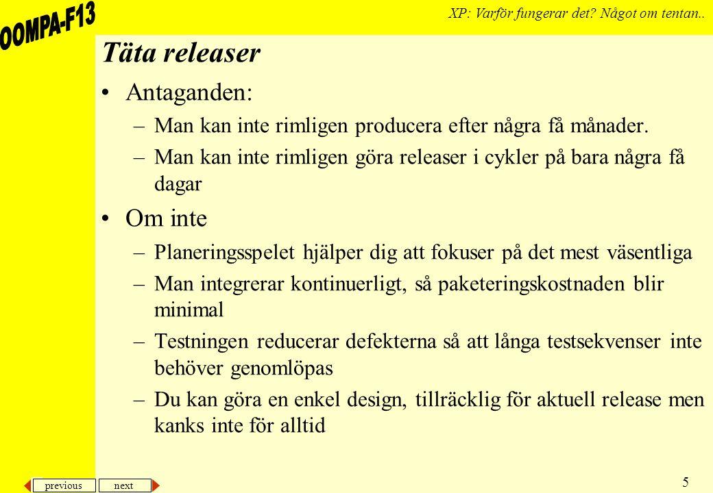 previous next 5 XP: Varför fungerar det. Något om tentan..