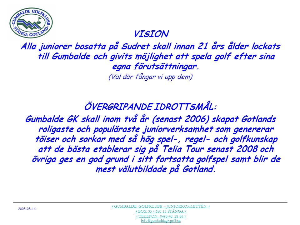 2005-08-14 GUMBALDE GOLFKLUBB - JUNIORKOMMITTÉN BOX 35 620 13 STÅNGA TELEFON: 0498-48 28 86 info@gumbaldegk.golf.se Vad har vi uppnått.