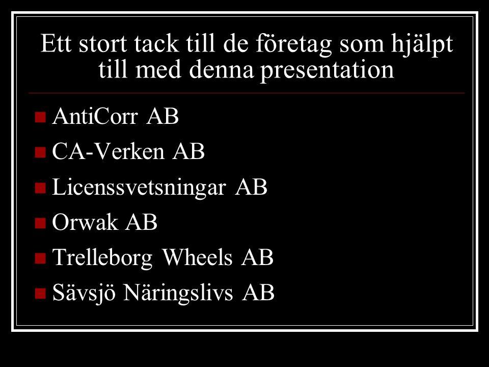 Ett stort tack till de företag som hjälpt till med denna presentation AntiCorr AB CA-Verken AB Licenssvetsningar AB Orwak AB Trelleborg Wheels AB Sävsjö Näringslivs AB