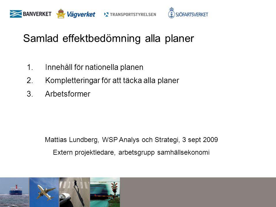 Samlad effektbedömning alla planer 1.Innehåll för nationella planen 2.Kompletteringar för att täcka alla planer 3.Arbetsformer Mattias Lundberg, WSP A