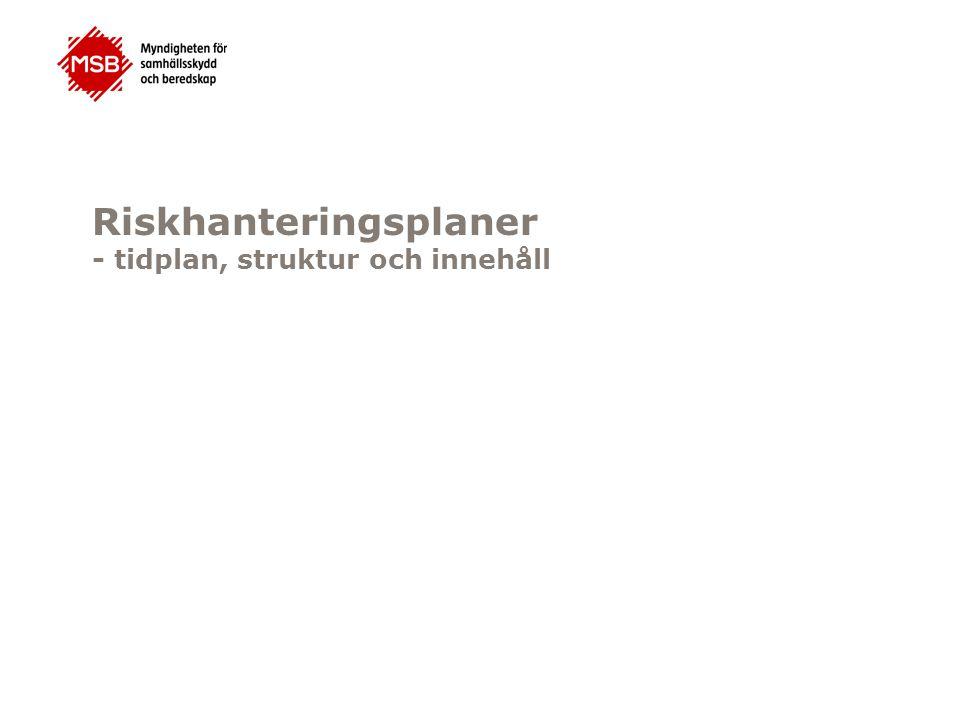 Hot- och riskkarto r Vägledning för arbetet med riskhanterings- planer Arbete med att ta fram riskhanterings- planerna MSB Länsstyrelser na Samråd ang.