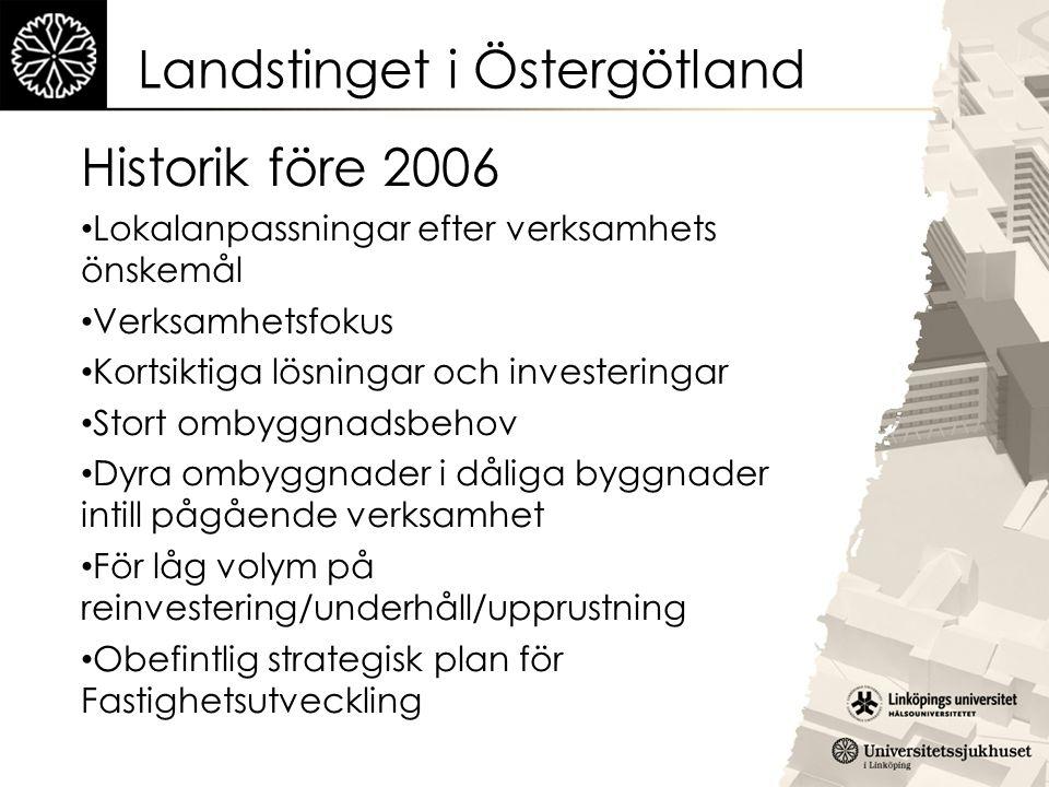 Landstinget i Östergötland Historik före 2006 Lokalanpassningar efter verksamhets önskemål Verksamhetsfokus Kortsiktiga lösningar och investeringar St
