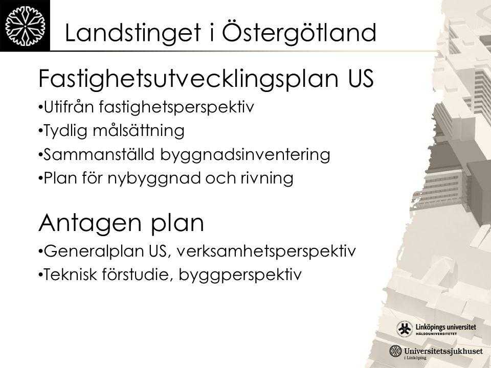 Landstinget i Östergötland Fastighetsutvecklingsplan US Utifrån fastighetsperspektiv Tydlig målsättning Sammanställd byggnadsinventering Plan för nyby