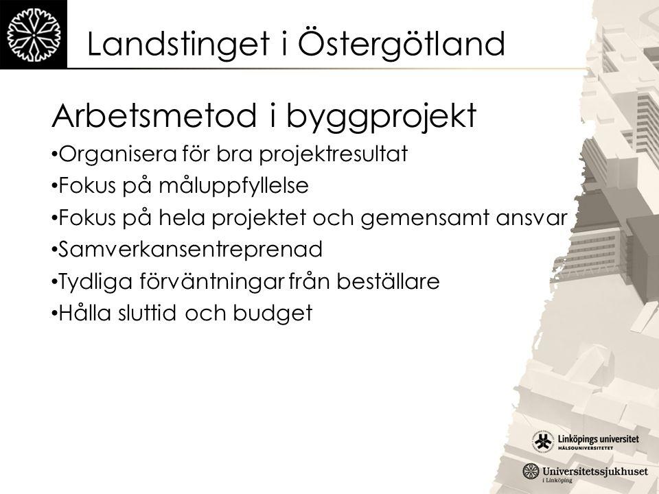 Landstinget i Östergötland Arbetsmetod i byggprojekt Organisera för bra projektresultat Fokus på måluppfyllelse Fokus på hela projektet och gemensamt