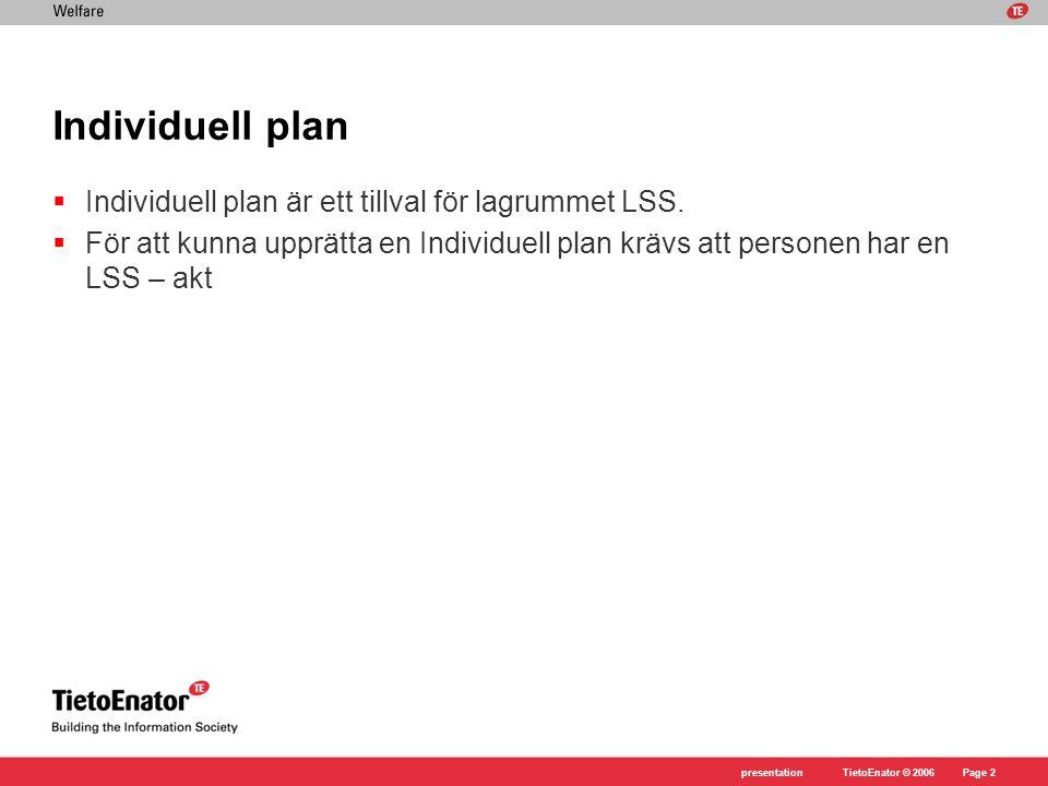 TietoEnator © 2006presentationPage 2 Individuell plan  Individuell plan är ett tillval för lagrummet LSS.  För att kunna upprätta en Individuell pla