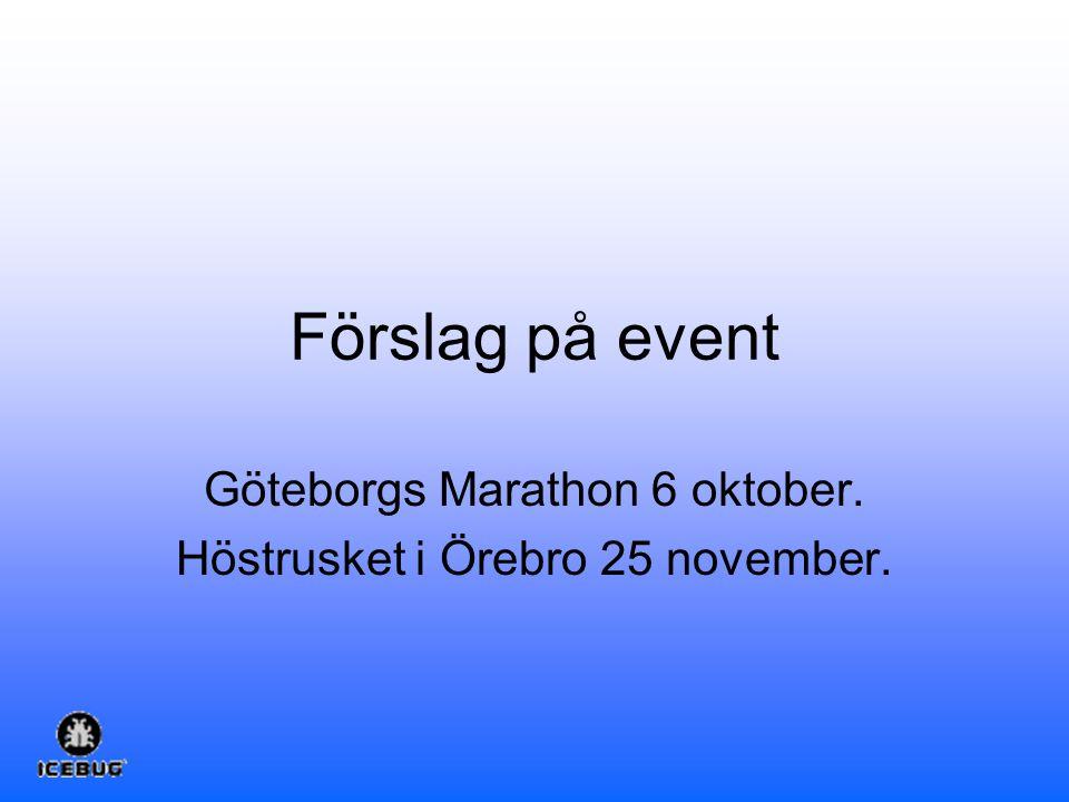 Förslag på event Göteborgs Marathon 6 oktober. Höstrusket i Örebro 25 november.