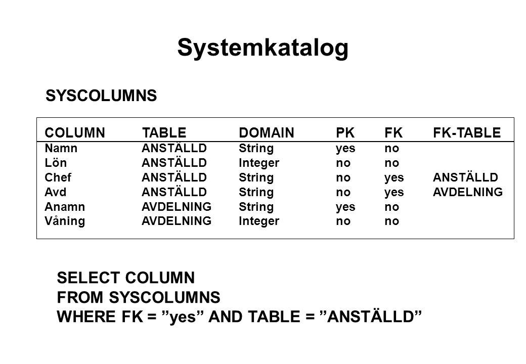 Systemkatalog SYSCOLUMNS COLUMNTABLEDOMAINPKFKFK-TABLE NamnANSTÄLLDStringyesno LönANSTÄLLDIntegernono ChefANSTÄLLDStringnoyesANSTÄLLD AvdANSTÄLLDStringnoyesAVDELNING AnamnAVDELNINGStringyesno VåningAVDELNINGIntegernono SELECT COLUMN FROM SYSCOLUMNS WHERE FK = yes AND TABLE = ANSTÄLLD