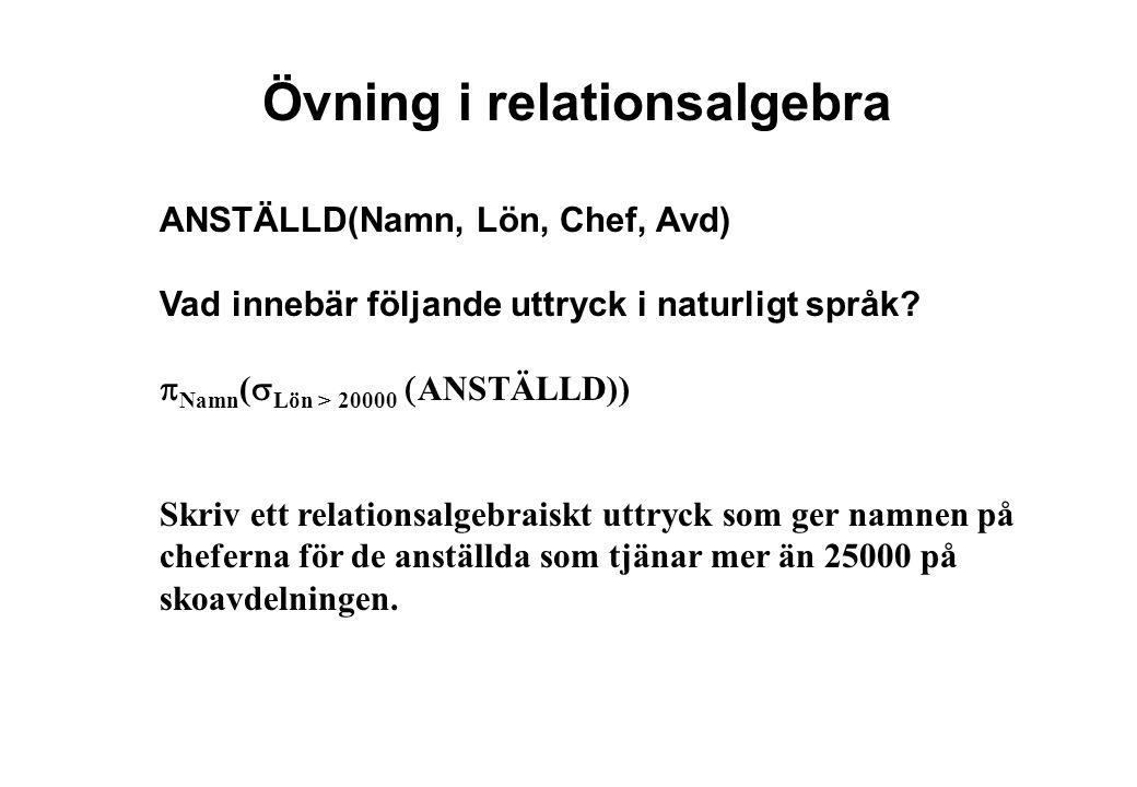Övning i relationsalgebra ANSTÄLLD(Namn, Lön, Chef, Avd) Vad innebär följande uttryck i naturligt språk.