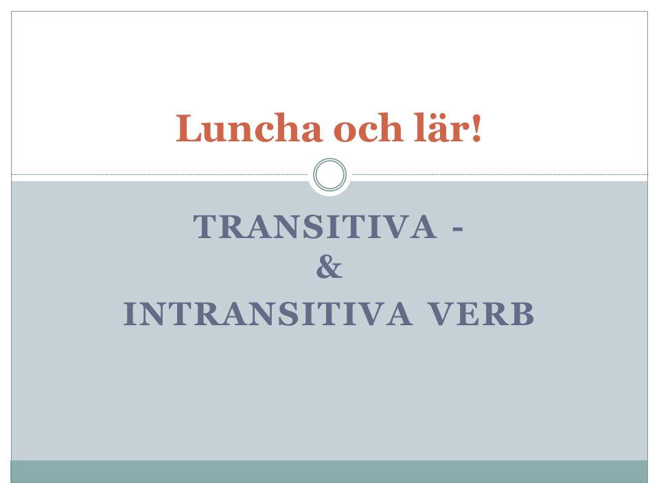 TRANSITIVA - & INTRANSITIVA VERB Luncha och lär!