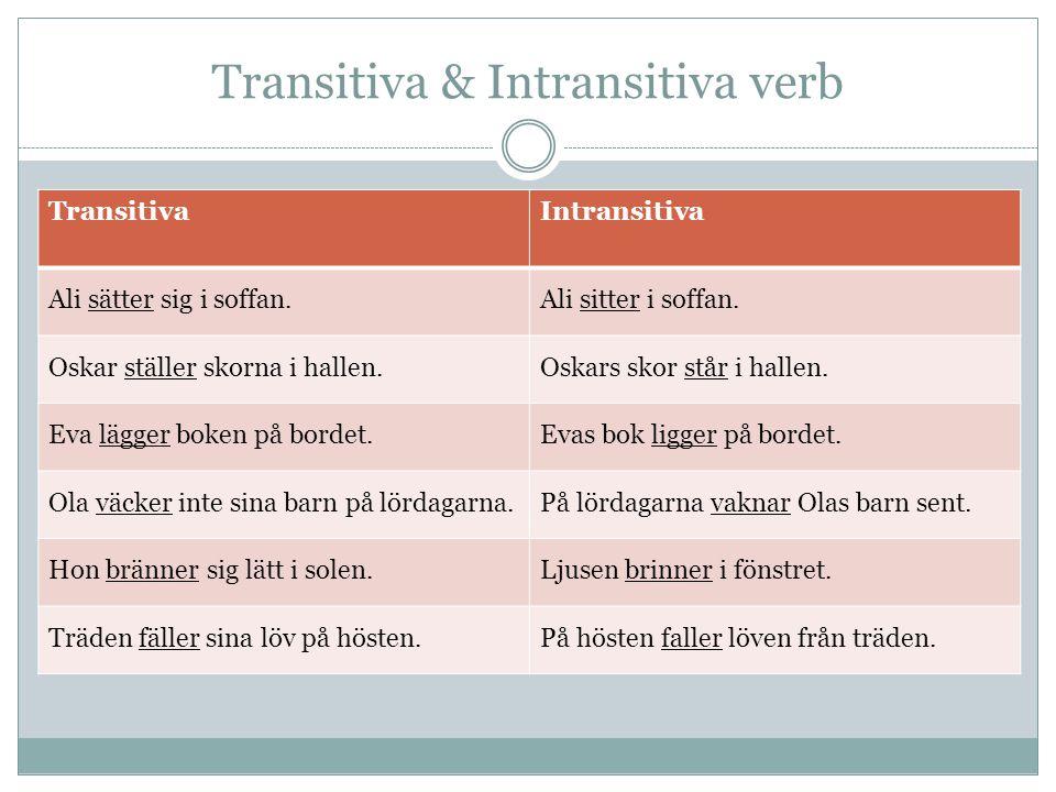 Transitiva & Intransitiva verb TransitivaIntransitiva Ali sätter sig i soffan.Ali sitter i soffan.