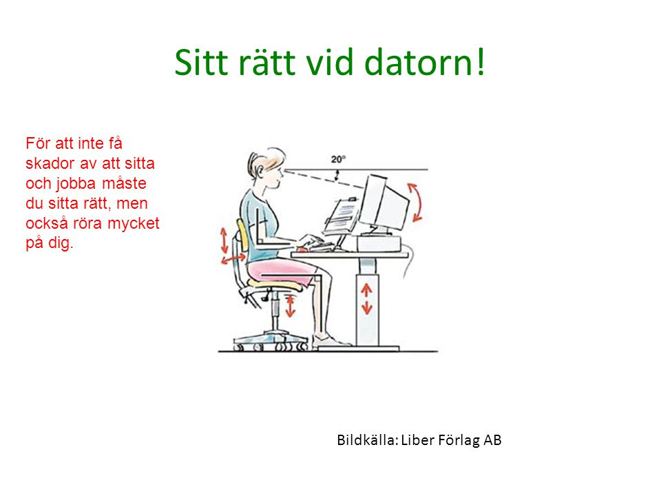 Sitt rätt vid datorn.