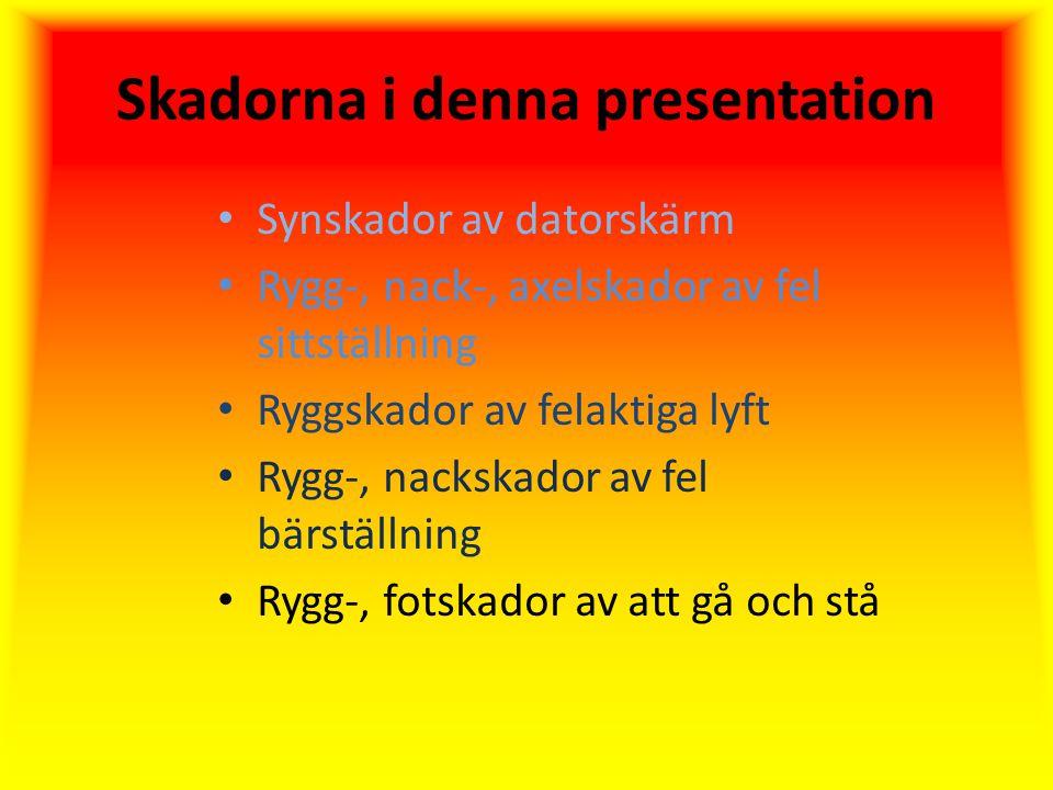 Skadorna i denna presentation Synskador av datorskärm Rygg-, nack-, axelskador av fel sittställning Ryggskador av felaktiga lyft Rygg-, nackskador av fel bärställning Rygg-, fotskador av att gå och stå