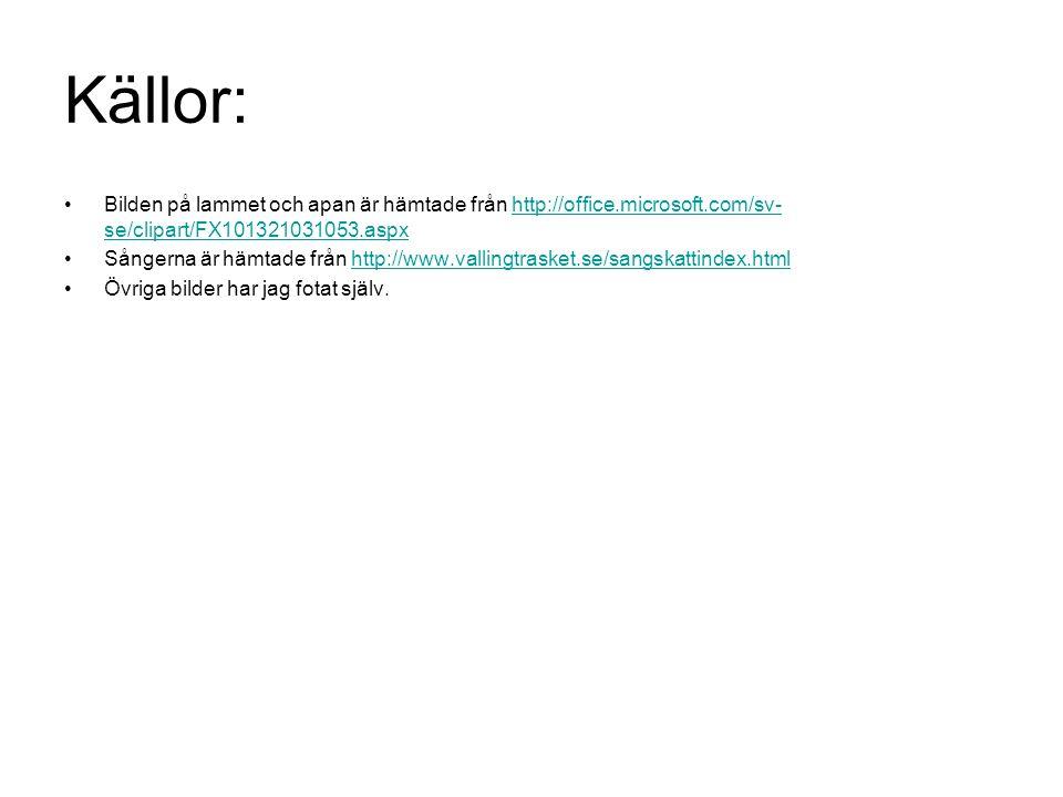 Källor: Bilden på lammet och apan är hämtade från http://office.microsoft.com/sv- se/clipart/FX101321031053.aspxhttp://office.microsoft.com/sv- se/cli