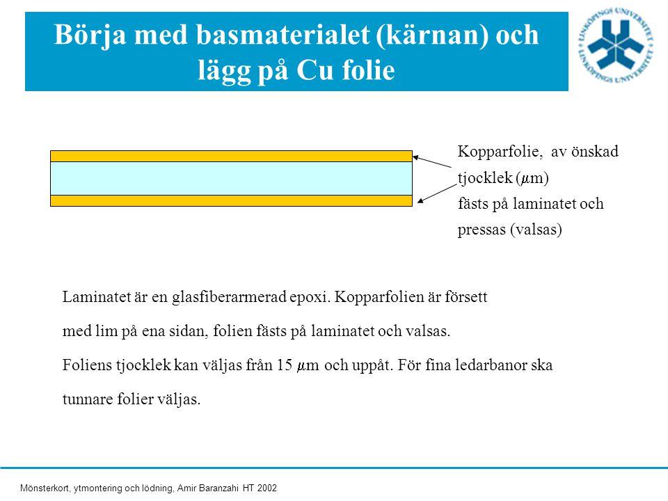 Mönsterkort, ytmontering och lödning, Amir Baranzahi HT 2002 Kopparfolie, av önskad tjocklek (  m) fästs på laminatet och pressas (valsas) Laminatet är en glasfiberarmerad epoxi.