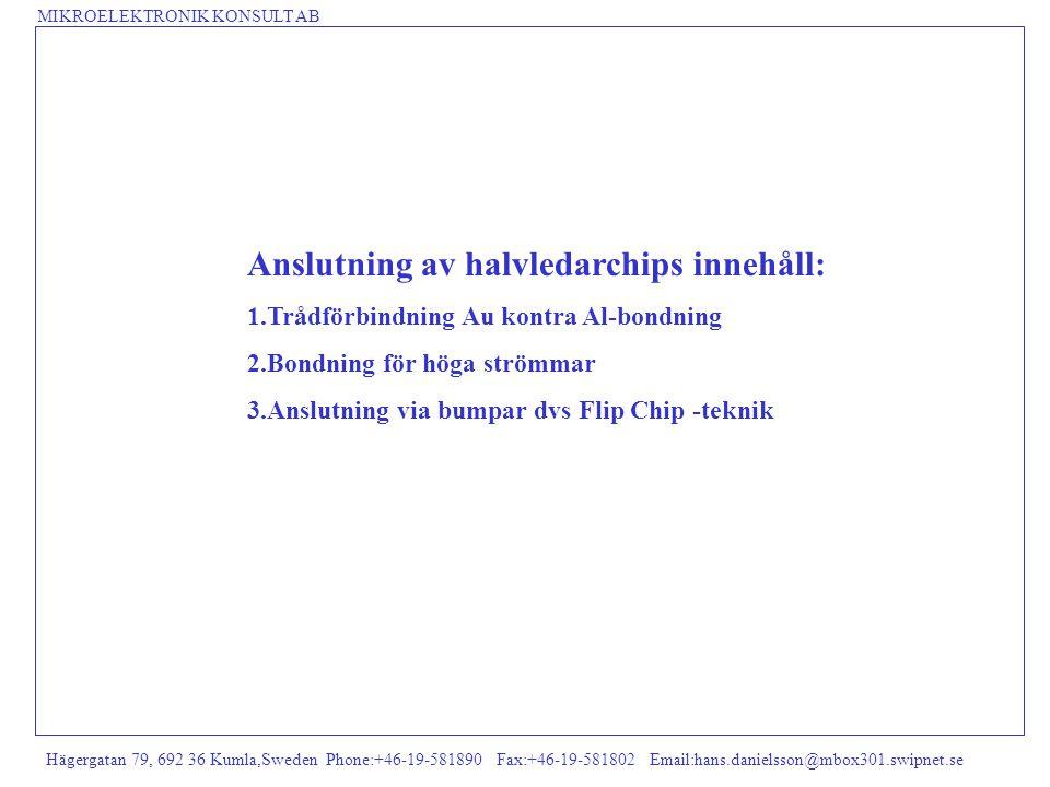 MIKROELEKTRONIK KONSULT AB Hägergatan 79, 692 36 Kumla,Sweden Phone:+46-19-581890 Fax:+46-19-581802 Email:hans.danielsson@mbox301.swipnet.se OLIKA SÄTT ATT ANSLUTA (FÖRBINDA) IC-CHIPS TILL SUBSTRAT/LAMINAT B) Flip Chip-teknik.Här måste man först tillverka bumpar på wafern,vilket kan ske på olika sätt A) Trådförbindning dvs Au- eller Al-bondning Lim IC-chip