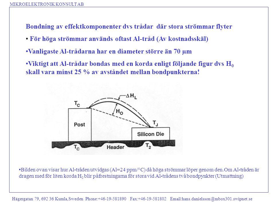 MIKROELEKTRONIK KONSULT AB Hägergatan 79, 692 36 Kumla,Sweden Phone:+46-19-581890 Fax:+46-19-581802 Email:hans.danielsson@mbox301.swipnet.se Bondning