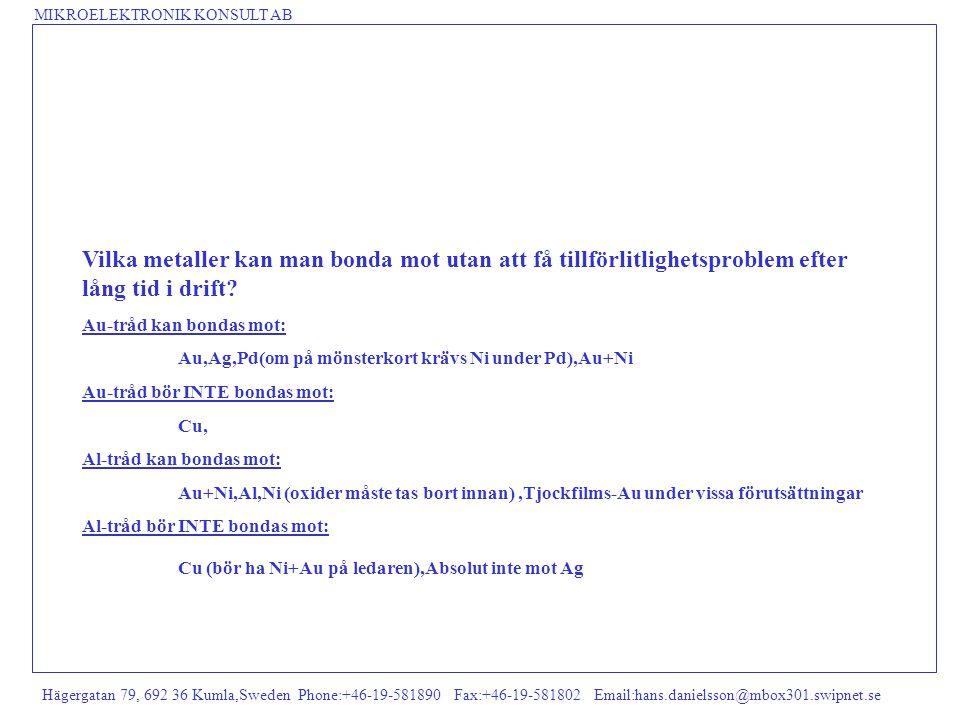 MIKROELEKTRONIK KONSULT AB Hägergatan 79, 692 36 Kumla,Sweden Phone:+46-19-581890 Fax:+46-19-581802 Email:hans.danielsson@mbox301.swipnet.se Vilka met