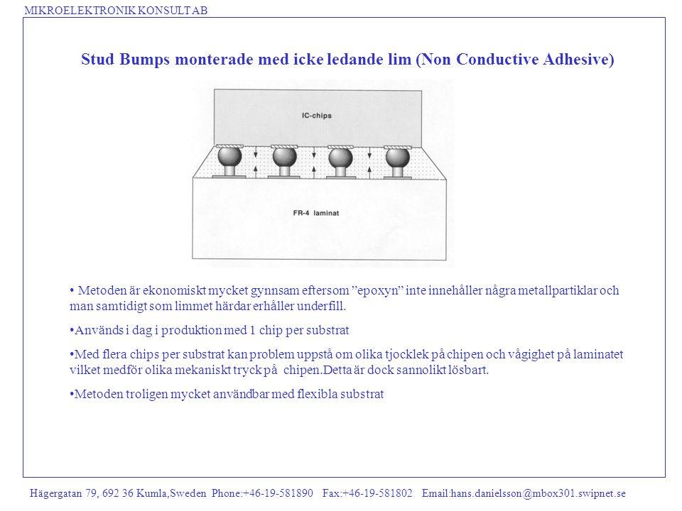 MIKROELEKTRONIK KONSULT AB Hägergatan 79, 692 36 Kumla,Sweden Phone:+46-19-581890 Fax:+46-19-581802 Email:hans.danielsson@mbox301.swipnet.se Stud Bump