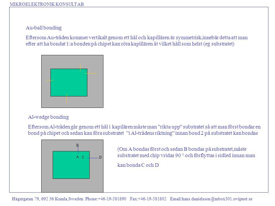 MIKROELEKTRONIK KONSULT AB Hägergatan 79, 692 36 Kumla,Sweden Phone:+46-19-581890 Fax:+46-19-581802 Email:hans.danielsson@mbox301.swipnet.se Electroless Ni+Au bumps Metoden kräver inga fotomasker Metoden kan arbeta med hela wafers ned till enstaka chips Metoden kapslar in de känsliga Al-paddarna i Ni vilket ökar tillförlitligheten i svår miljö Metoden ger 5-ca 20 µm höga bumpar Metoden utmärkt för ACA (Anisotropic Conductive Adhesive) Metoden används ofta (5 µm höga bumpar) som underlag för att trycka lodpasta på wafers Metoden utvecklad i Finland (PicoPac) men största utvecklaren är i Tyskland (PacTech)