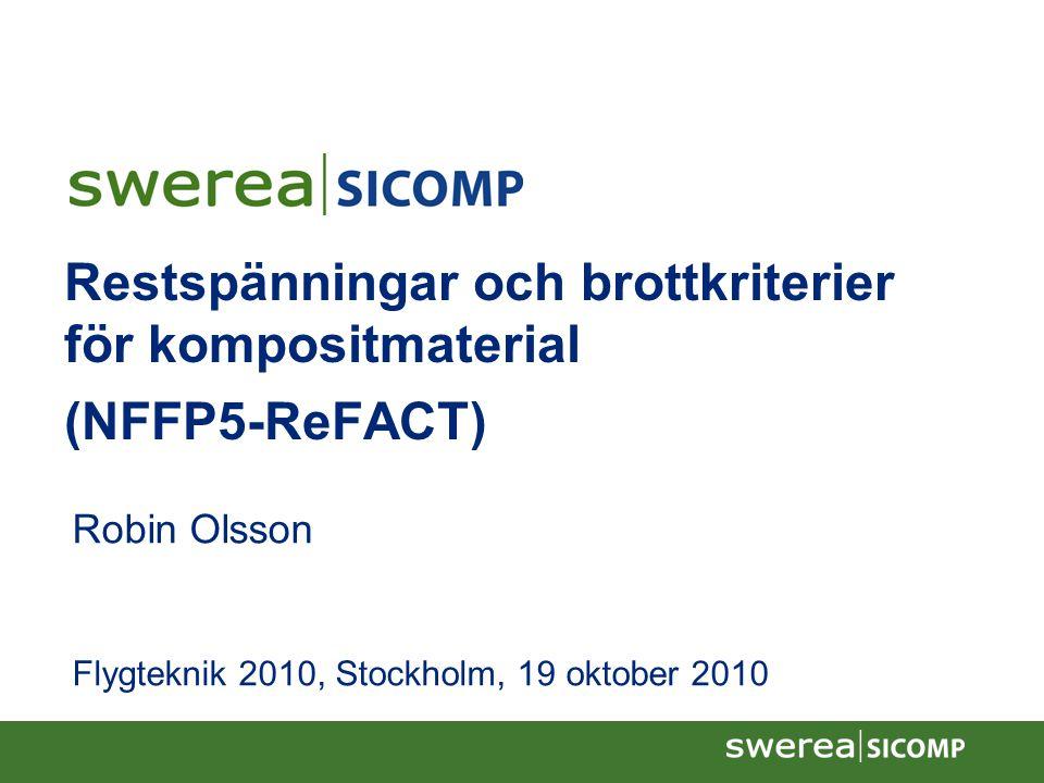 12/6/07 Restspänningar och brottkriterier för kompositmaterial (NFFP5-ReFACT) Robin Olsson Flygteknik 2010, Stockholm, 19 oktober 2010