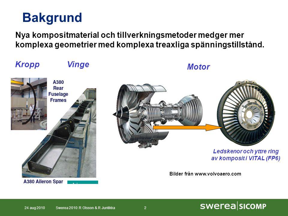 24 aug 2010Swerea 2010: R Olsson & R Juntikka2 Motor Bakgrund Ledskenor och yttre ring av komposit i VITAL (FP6) Bilder från www.volvoaero.com Nya kompositmaterial och tillverkningsmetoder medger mer komplexa geometrier med komplexa treaxliga spänningstillstånd.