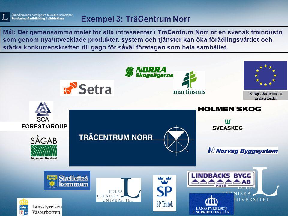 FOREST GROUP Exempel 3: TräCentrum Norr Mål: Det gemensamma målet för alla intressenter i TräCentrum Norr är en svensk träindustri som genom nya/utvecklade produkter, system och tjänster kan öka förädlingsvärdet och stärka konkurrenskraften till gagn för såväl företagen som hela samhället.