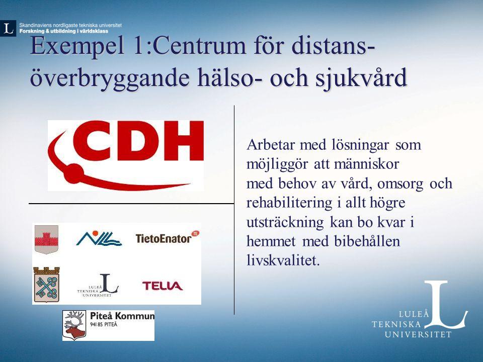 Exempel 1:Centrum för distans- överbryggande hälso- och sjukvård Arbetar med lösningar som möjliggör att människor med behov av vård, omsorg och rehab