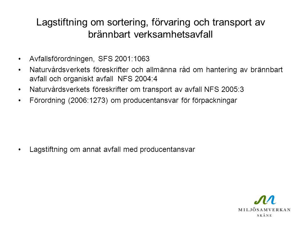 Förvaring av brännbart avfall Brännbart avfall skall förvaras och transporteras bort skilt från annat avfall (19 § Avfallsförordning 2001:1063) Den som ger upphov till annat avfall än hushållsavfall skall se till att brännbart avfall sorteras ut från avfall som inte är brännbart, och annat avfall som i utsorterade fraktioner utgör farligt avfall Sortering skall ske vid källan (NFS 2004:4 9 §)