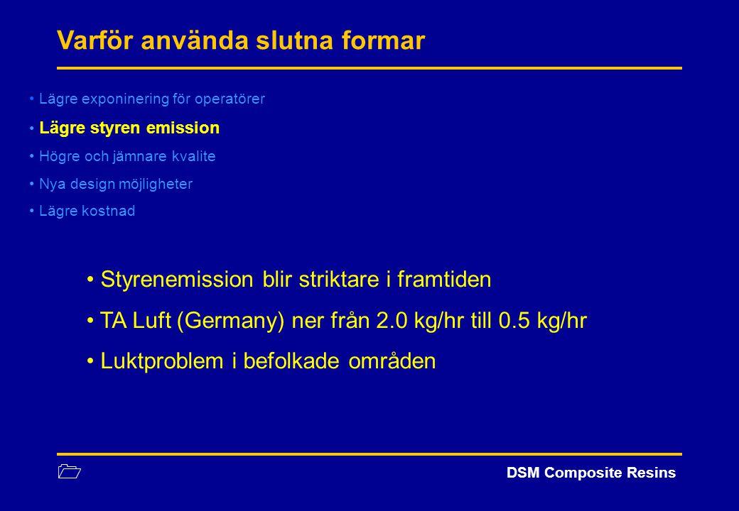 1 DSM Composite Resins Lägre exponinering för operatörer Lägre styren emission Högre och jämnare kvalite Nya design möjligheter Lägre kostnad Varför a