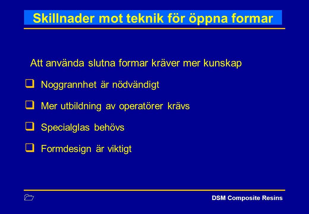 1 DSM Composite Resins Skillnader mot teknik för öppna formar Att använda slutna formar kräver mer kunskap  Noggrannhet är nödvändigt  Mer utbildnin