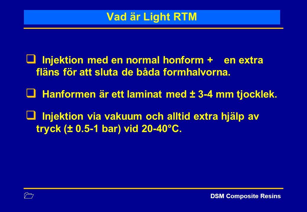 1 DSM Composite Resins Vad är Light RTM  Injektion med en normal honform + en extra fläns för att sluta de båda formhalvorna.  Hanformen är ett lami