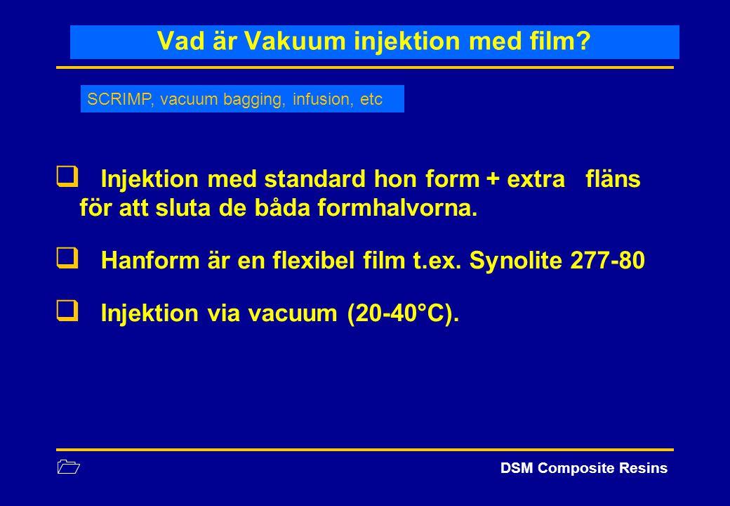 1 DSM Composite Resins Vad är Vakuum injektion med film?  Injektion med standard hon form + extra fläns för att sluta de båda formhalvorna.  Hanform