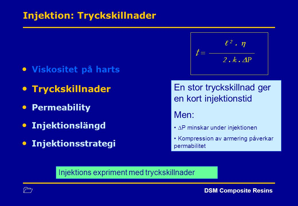 1 DSM Composite Resins Viskositet på harts Tryckskillnader Permeability Injektionslängd Injektionsstrategi En stor tryckskillnad ger en kort injektion