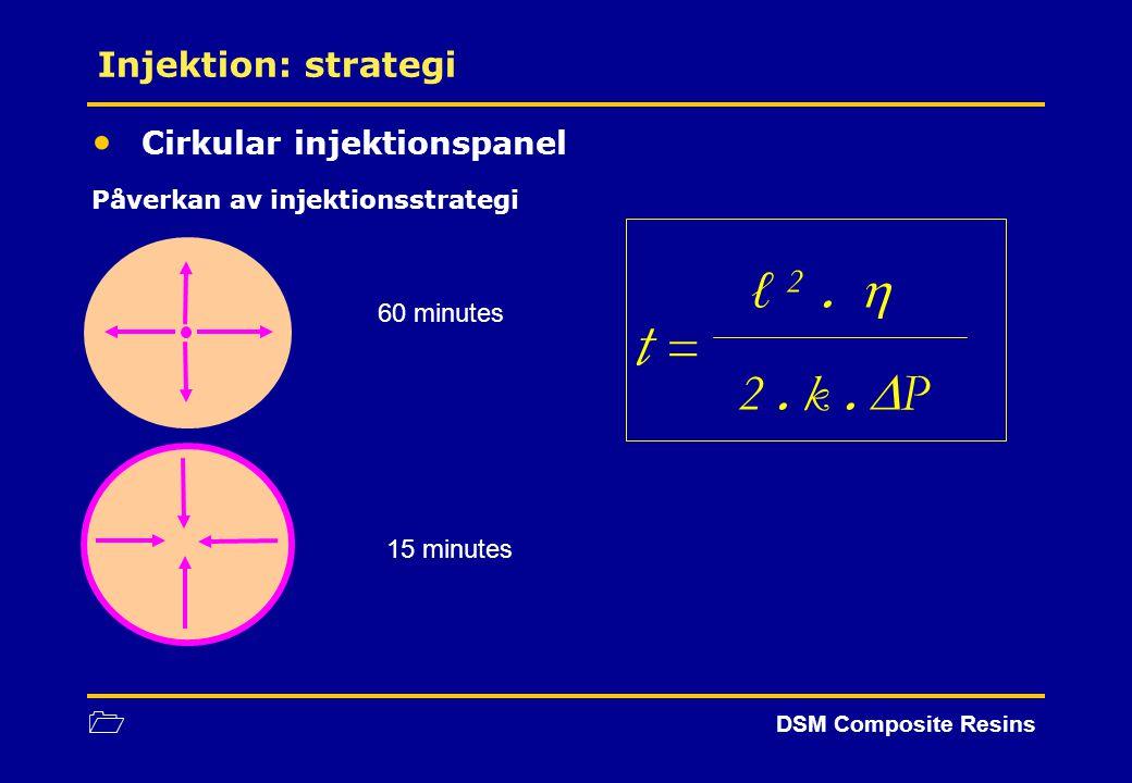 1 DSM Composite Resins Cirkular injektionspanel Påverkan av injektionsstrategi Injektion: strategi ℓ 2.  t = 2. k.  P 60 minutes 15 minutes