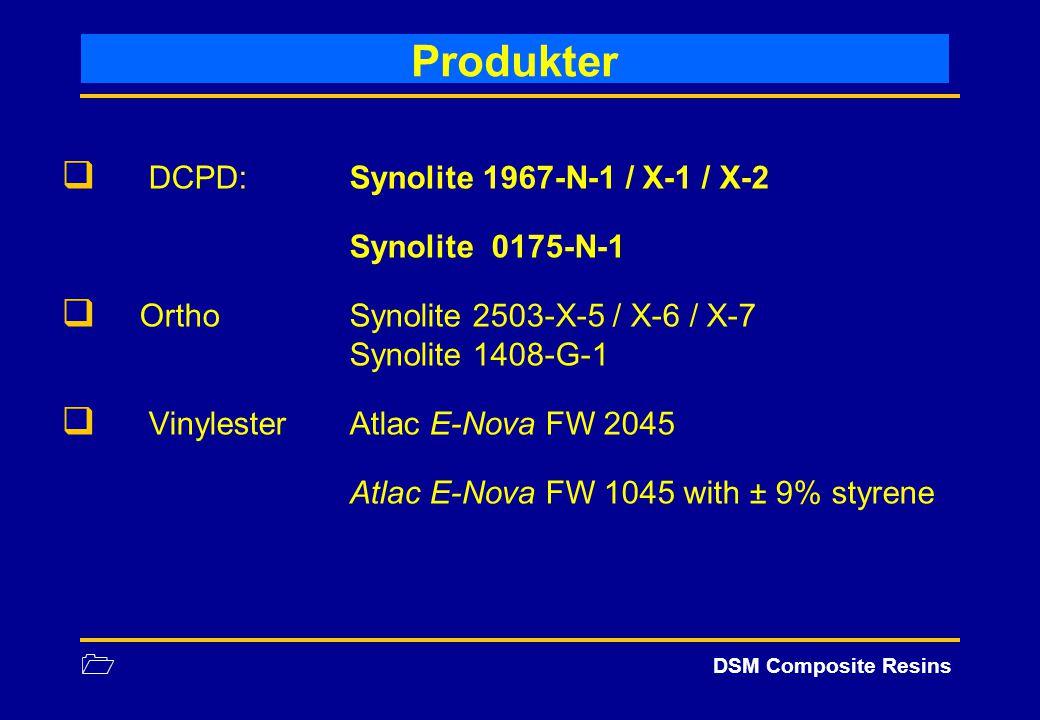 1 DSM Composite Resins Produkter  DCPD: Synolite 1967-N-1 / X-1 / X-2 Synolite 0175-N-1  OrthoSynolite 2503-X-5 / X-6 / X-7 Synolite 1408-G-1  Viny