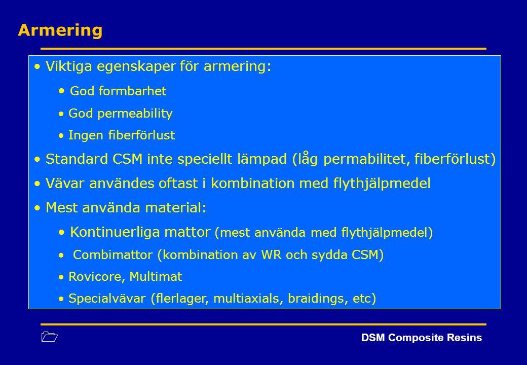 1 DSM Composite Resins Armering Viktiga egenskaper för armering: God formbarhet God permeability Ingen fiberförlust Standard CSM inte speciellt lämpad