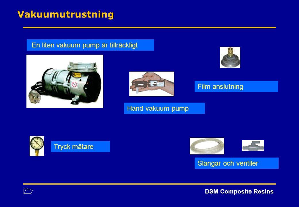 1 DSM Composite Resins Vakuumutrustning En liten vakuum pump är tillräckligt Hand vakuum pump Tryck mätare Slangar och ventiler Film anslutning