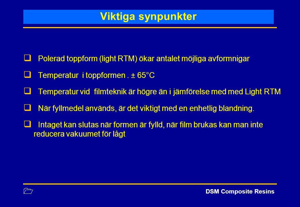 1 DSM Composite Resins Viktiga synpunkter  Polerad toppform (light RTM) ökar antalet möjliga avformnigar  Temperatur i toppformen. ± 65°C  Temperat