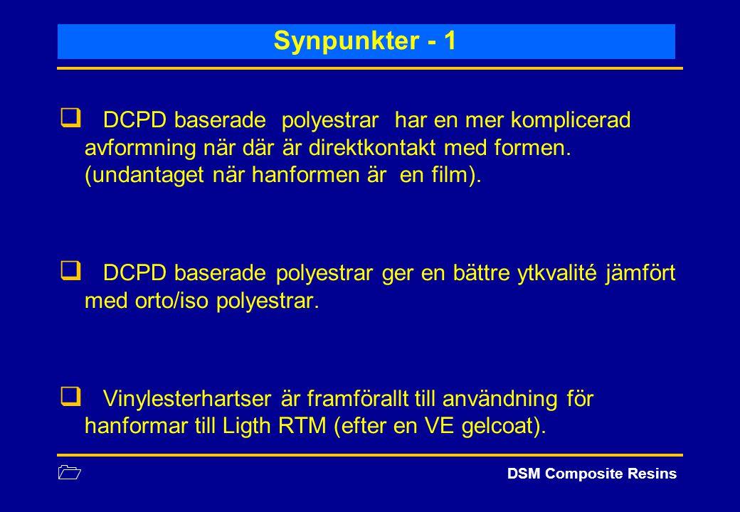1 DSM Composite Resins Synpunkter - 1  DCPD baserade polyestrar har en mer komplicerad avformning när där är direktkontakt med formen. (undantaget nä