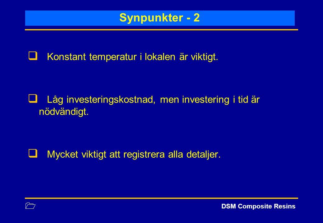 1 DSM Composite Resins Synpunkter - 2  Konstant temperatur i lokalen är viktigt.  Låg investeringskostnad, men investering i tid är nödvändigt.  My