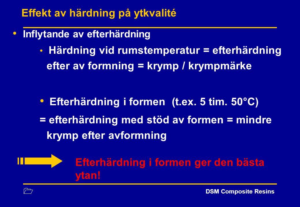1 DSM Composite Resins Effekt av härdning på ytkvalité Inflytande av efterhärdning Härdning vid rumstemperatur = efterhärdning efter av formning = kry