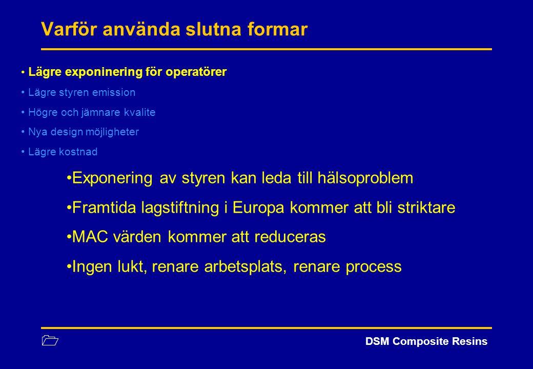 1 DSM Composite Resins Process: Jämförelse Processer att jämföras: Hand uppläggning Spray-up Light RTM Jämförande parametrar: Råmaterial Arbetskostnad NB: Jämförelsen är gjord på samma produkt, medium svårighet:Fordons detalj (1.5m2)