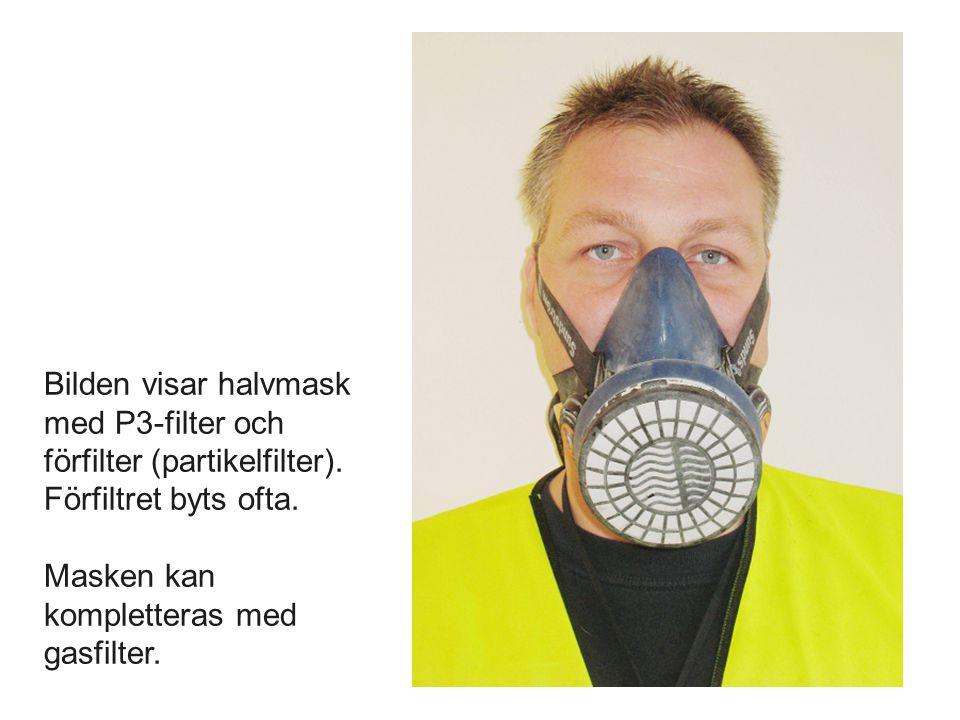 Bilden visar halvmask med P3-filter och förfilter (partikelfilter). Förfiltret byts ofta. Masken kan kompletteras med gasfilter.