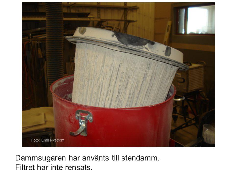 Foto: Emil Nyström Dammsugaren har använts till stendamm. Filtret har inte rensats.