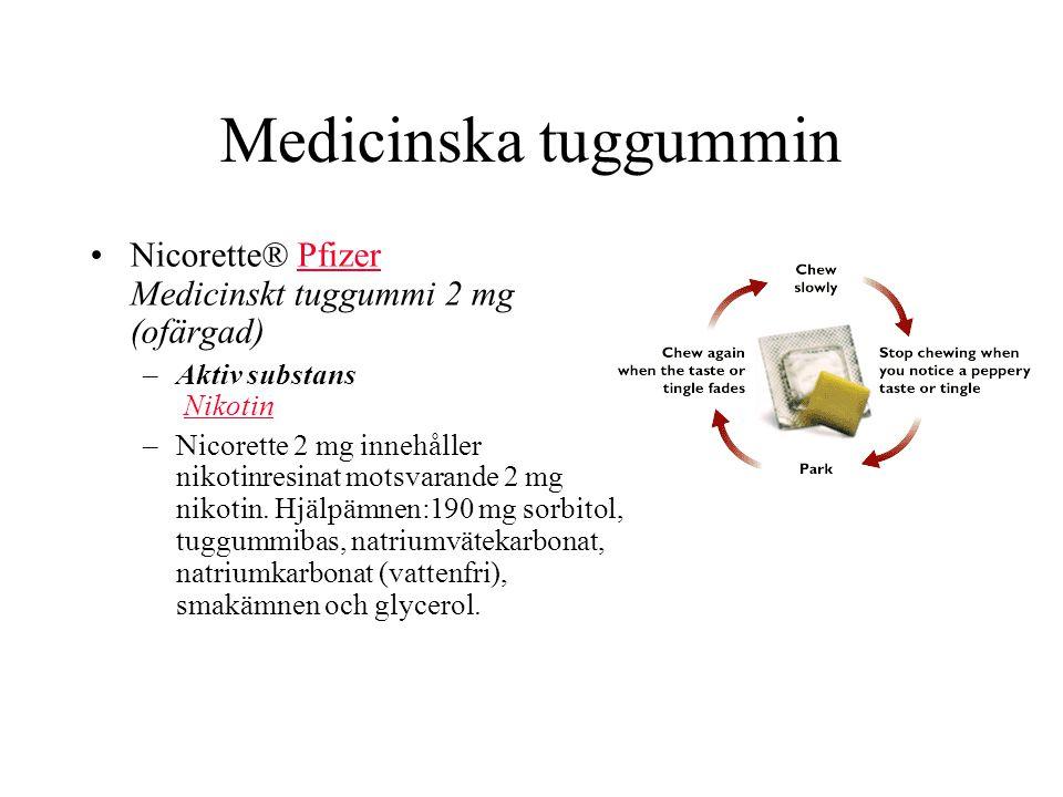 Medicinska tuggummin Nicorette® Pfizer Medicinskt tuggummi 2 mg (ofärgad)Pfizer –Aktiv substans NikotinNikotin –Nicorette 2 mg innehåller nikotinresinat motsvarande 2 mg nikotin.