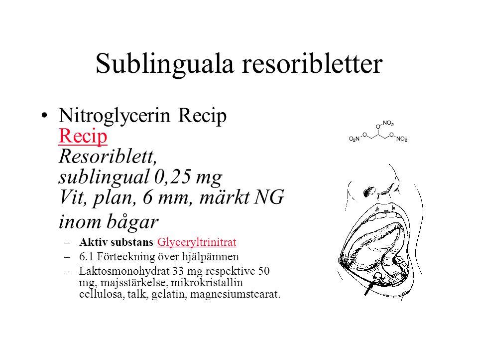 Sublinguala resoribletter Nitroglycerin Recip Recip Resoriblett, sublingual 0,25 mg Vit, plan, 6 mm, märkt NG inom bågar Recip –Aktiv substans GlyceryltrinitratGlyceryltrinitrat –6.1 Förteckning över hjälpämnen –Laktosmonohydrat 33 mg respektive 50 mg, majsstärkelse, mikrokristallin cellulosa, talk, gelatin, magnesiumstearat.