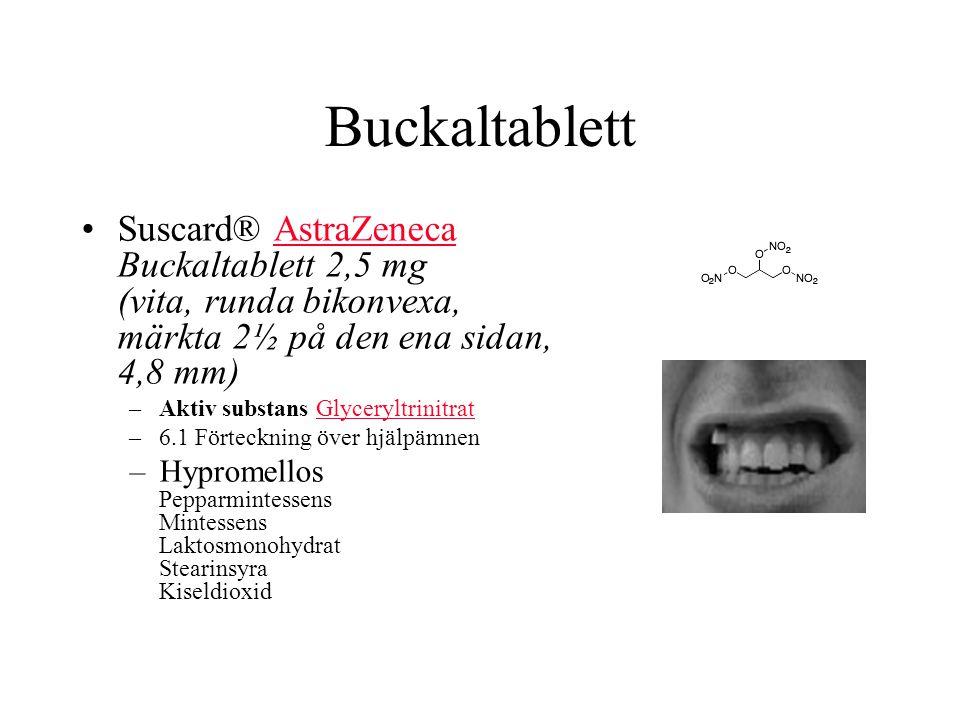 Buckaltablett Suscard® AstraZeneca Buckaltablett 2,5 mg (vita, runda bikonvexa, märkta 2½ på den ena sidan, 4,8 mm)AstraZeneca –Aktiv substans GlyceryltrinitratGlyceryltrinitrat –6.1 Förteckning över hjälpämnen –Hypromellos Pepparmintessens Mintessens Laktosmonohydrat Stearinsyra Kiseldioxid