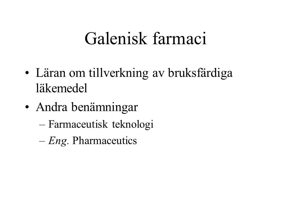 Galenisk farmaci Läran om tillverkning av bruksfärdiga läkemedel Andra benämningar –Farmaceutisk teknologi –Eng. Pharmaceutics