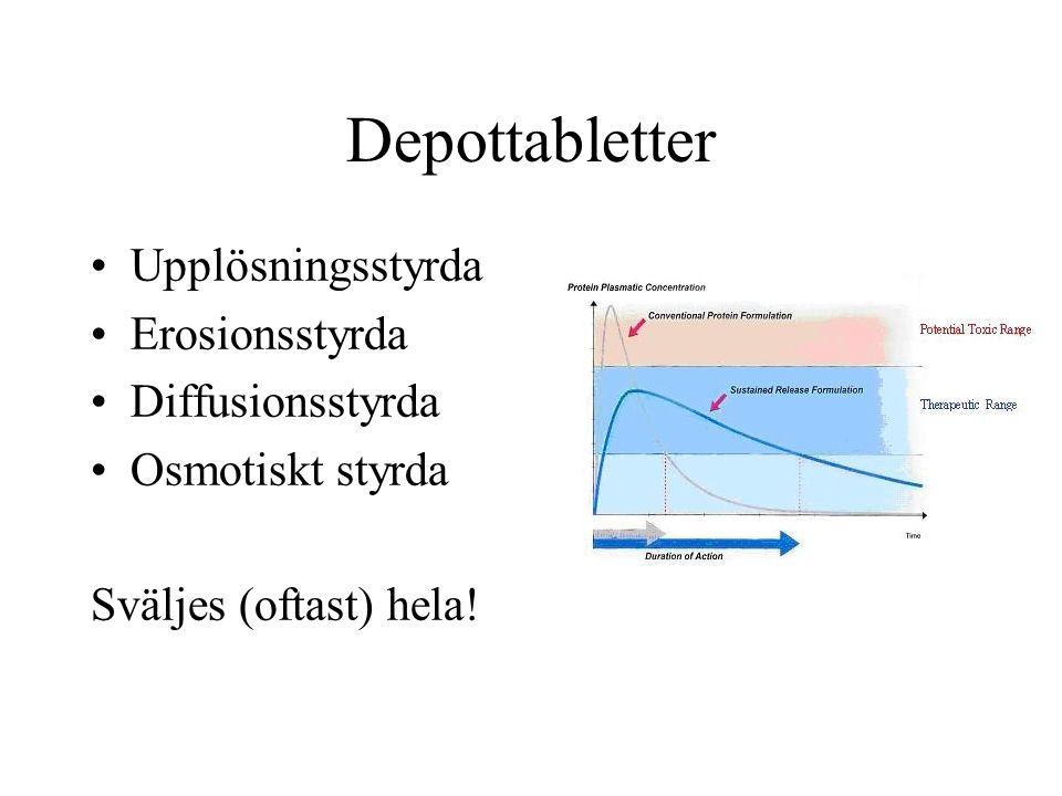 Depottabletter Upplösningsstyrda Erosionsstyrda Diffusionsstyrda Osmotiskt styrda Sväljes (oftast) hela!